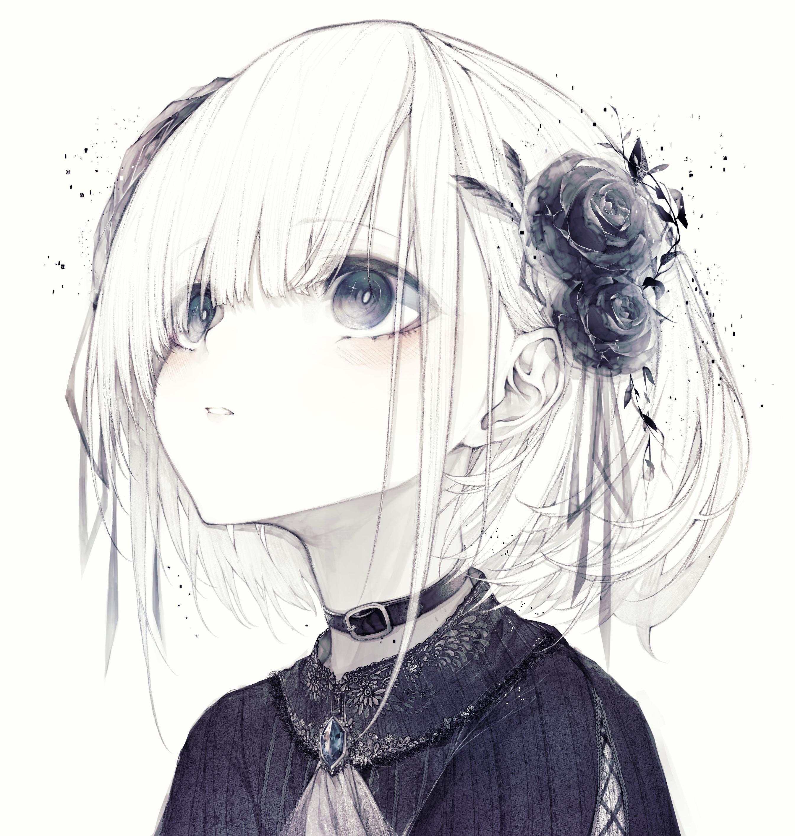 Black And White Looking Up Cutely Original Anime Art Girl Anime Artwork Kawaii Anime