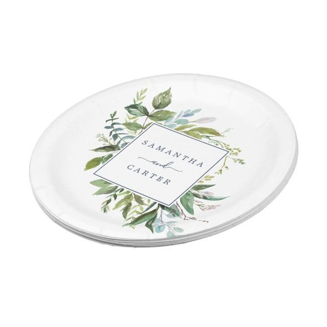 Summer Greenery Bride and Groom Wedding Paper Plate  , , rusticweddingreception