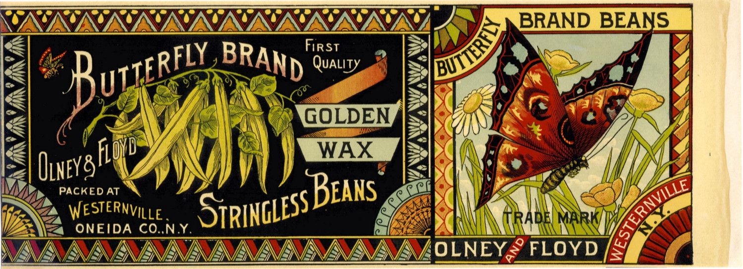 1890s Butterfly Brand Stringless Beans can label from Olney ...