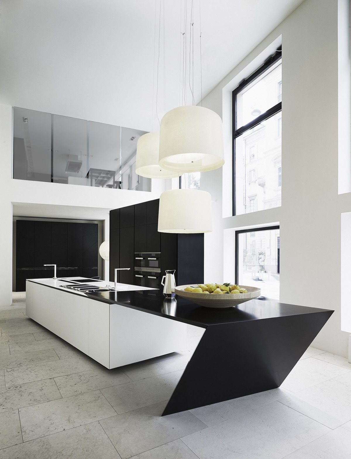 50 Modern Kitchen Designs That Use Unconventional Geometry | Day 1 on eccentric kitchen, cool kitchen, fresh kitchen, honest kitchen, old chimney in kitchen, eclectic kitchen, wood floors in kitchen, smart kitchen, awkward kitchen, old-fashioned kitchen, contemporary kitchen, flexible kitchen, kooky kitchen, entertaining kitchen, original kitchen, industrial kitchen, ad hoc kitchen, wood countertops for kitchen,