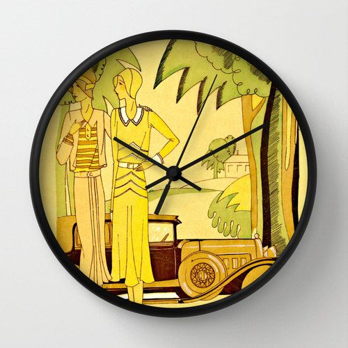 Art Deco Clock The Great Gatsby Reproduction Featuring Flappers From Vintage Illustration In Sunny Yellows