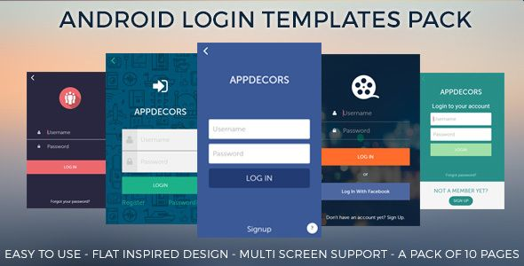 Android Login templates Pack by appdecors A Pack of 10 Login