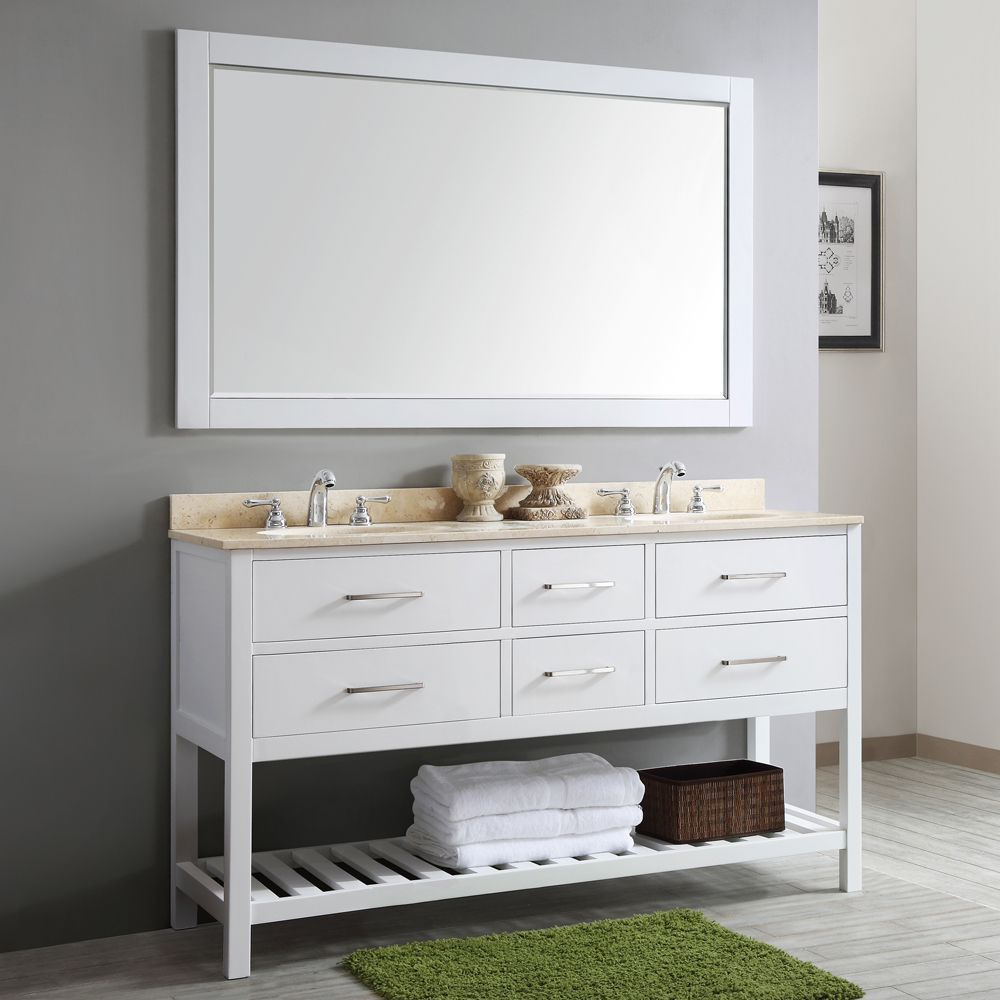 Vinnova Foligno 60-inch Double Vanity with Creama Marfil Marble Top with Mirror