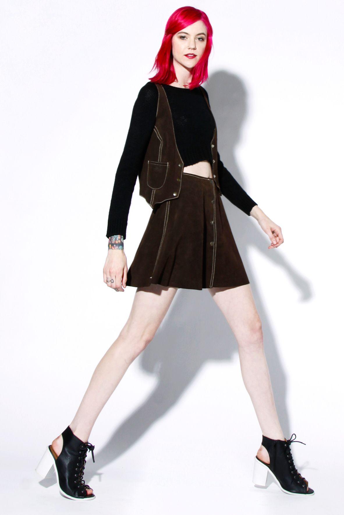 Deadstock Vintage 70s Suede Leather Snap Up Skirt + Vest Set   Thrifted & Modern #70s #suede #suedeskirt #vintage #thriftedandmodern #pinkhair