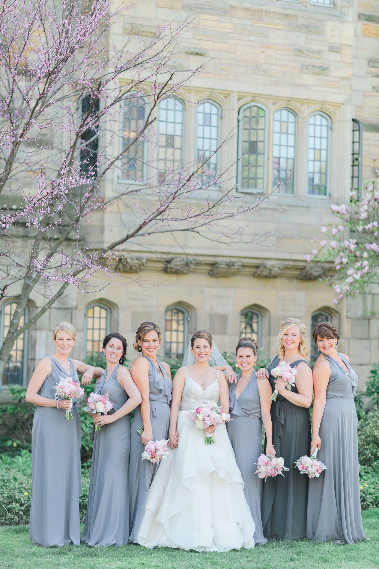 Fashion style Bridesmaid Gray dresses with pink flowers pictures for girls