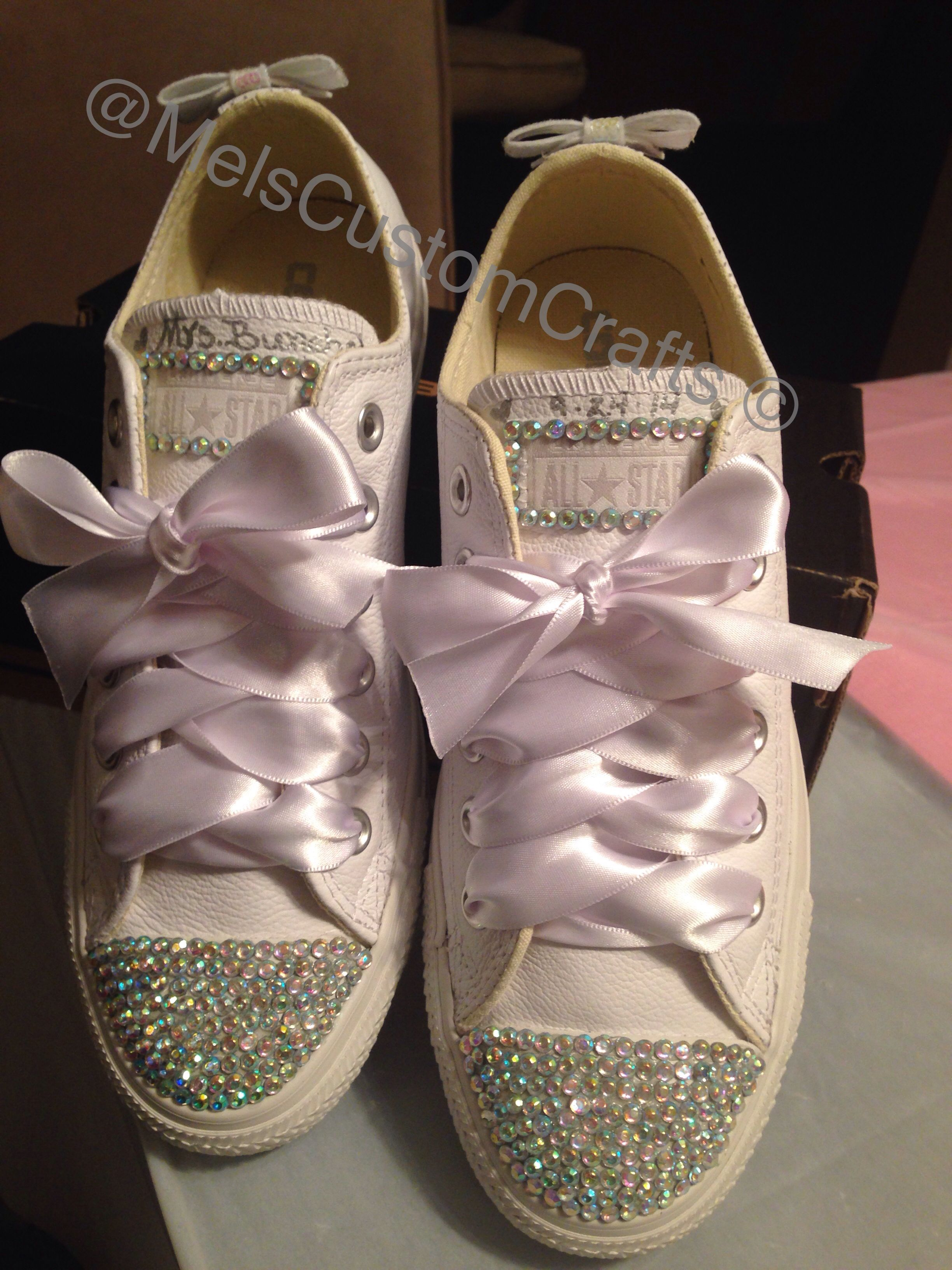 Bridal sneakers. White leather converse with rhinestone