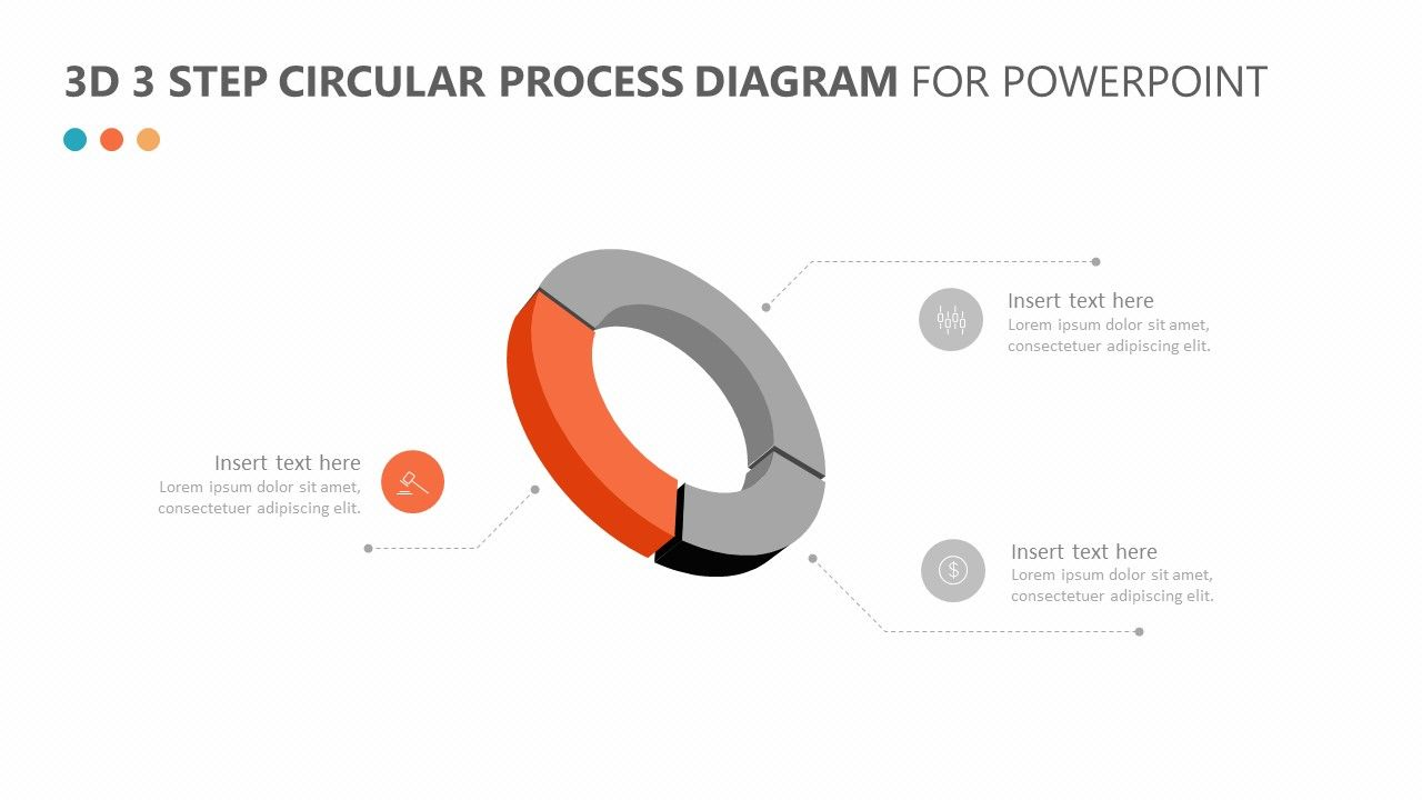 3d 3 step circular process diagram for powerpoint the 3d 3 step circular process diagram for powerpoint is a way for you to break down the three main steps  [ 1280 x 720 Pixel ]