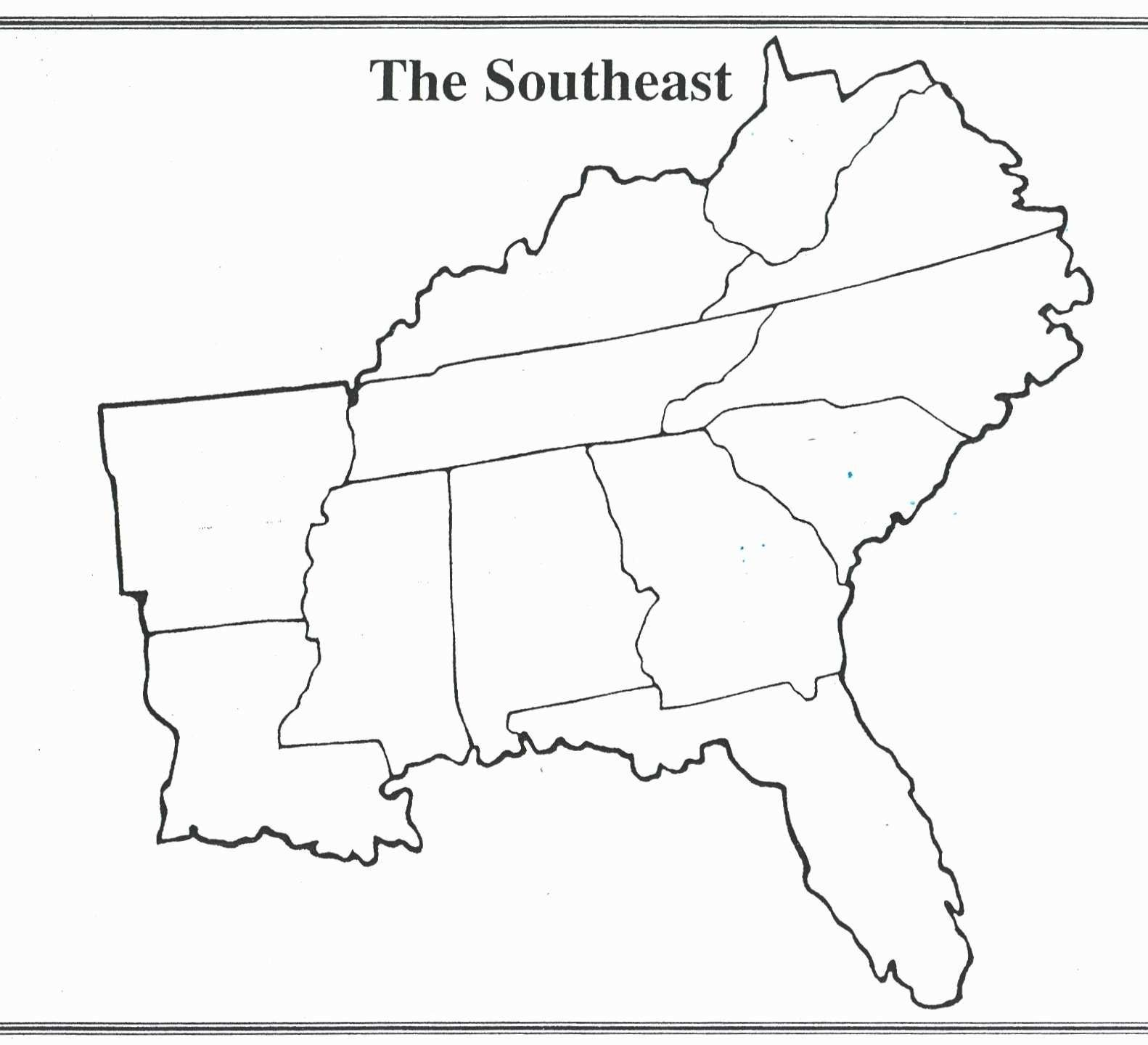 Blank Map Of Southeast Us Southeast Map Us States