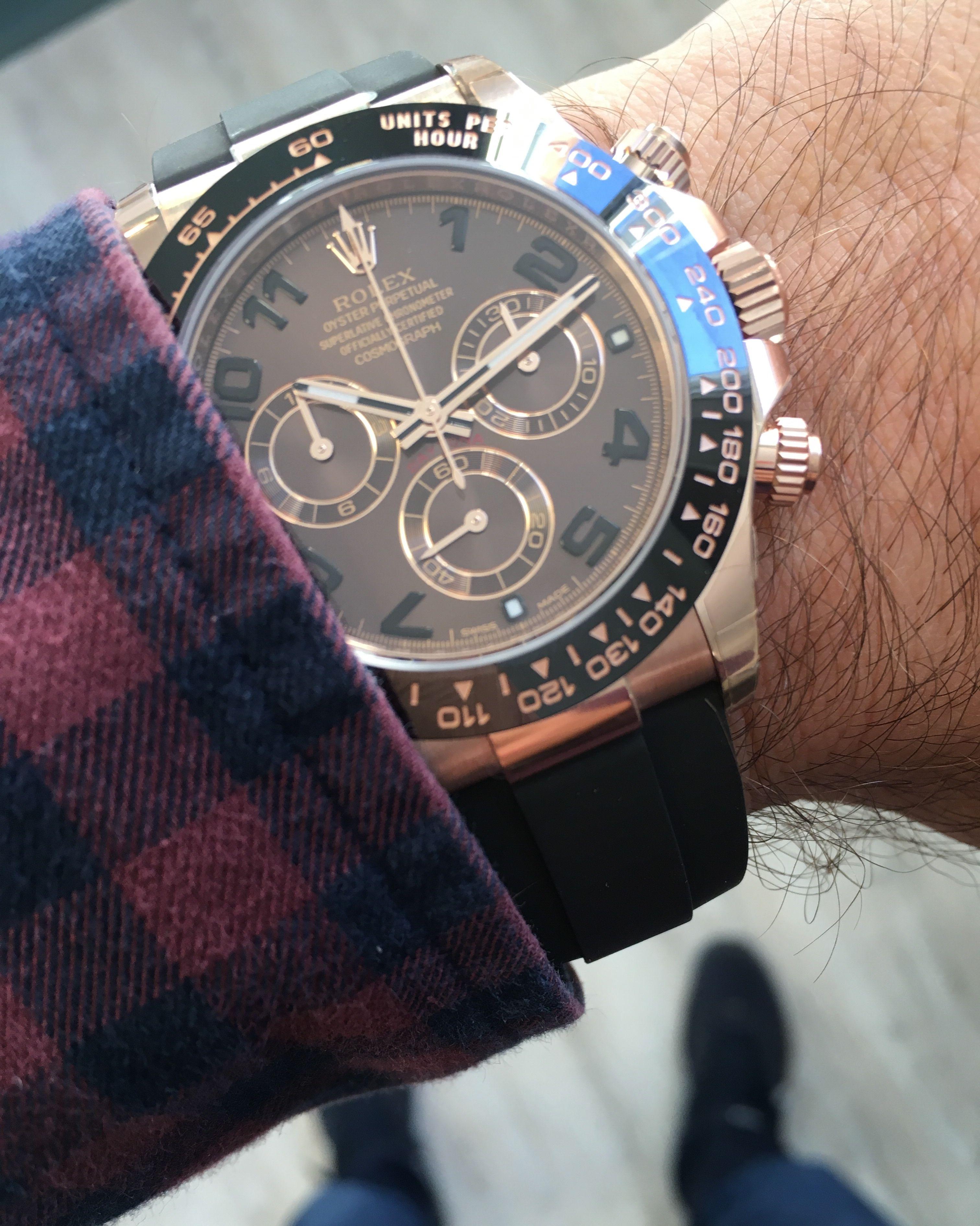 Rolex Daytona Rose Gold Chocolate Dial Oysterflex 116515ln Watches