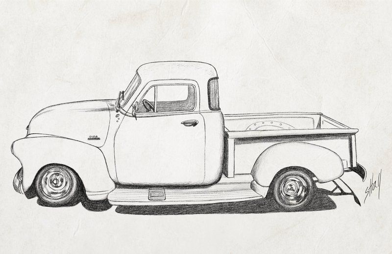 truck pencil drawings