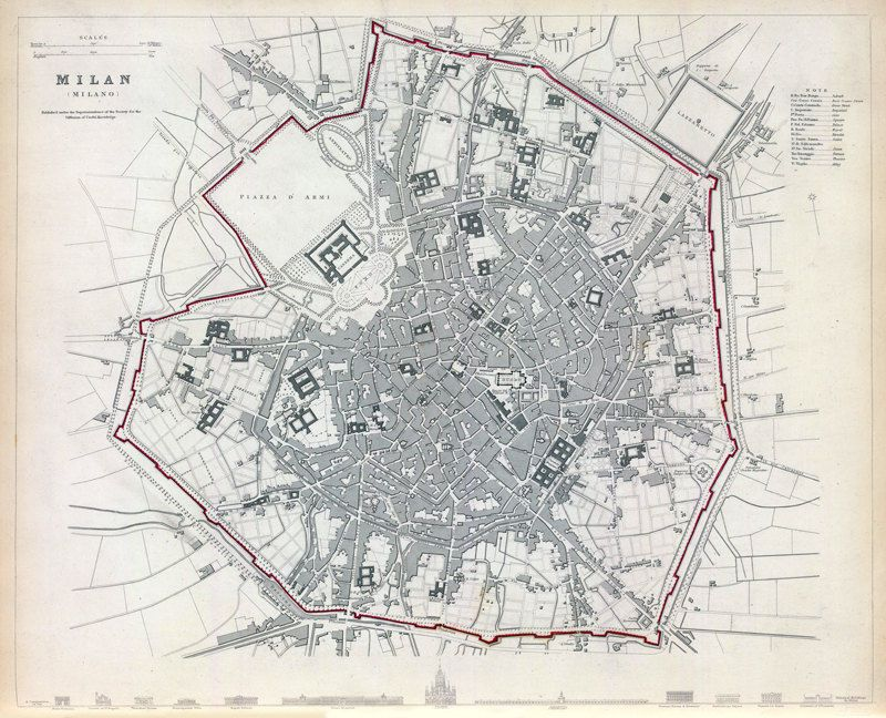 Old Map of Milan Milano, City Plan Italia 1832 Antique Vintage Italy ...