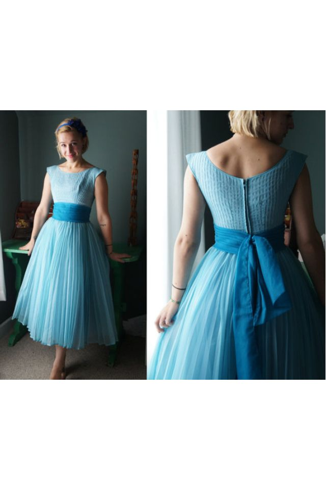 437b357be5 50s blue tea length dress. It reminds me of Wendy Darling s night gown  D