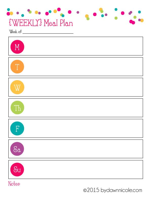 Organizational Printables Meal Plan  Grocery List Free groceries