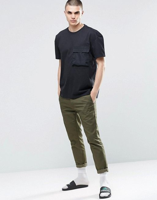 adidas Originals   adidas Originals BLK/WVN T-Shirt In Boxy Fit With Pocket BQ3531
