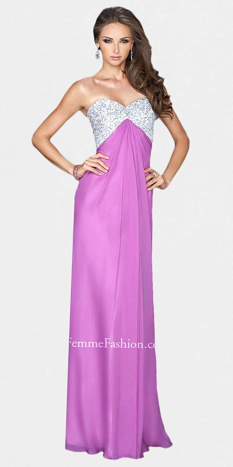 Silver Sequined Sweetheart Strapless Prom Dresses by La Femme
