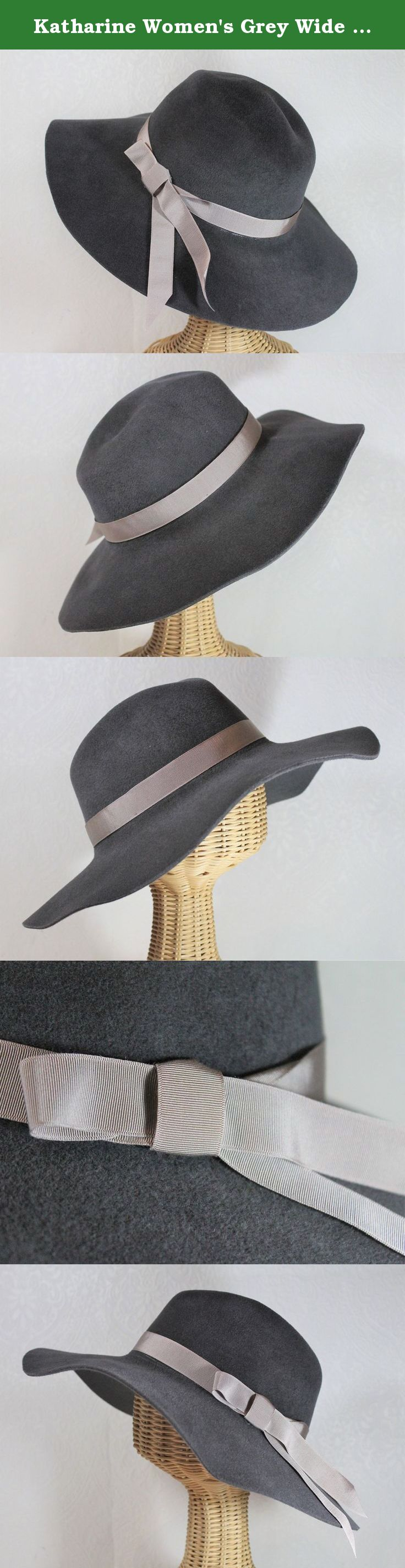 c5f9506a124 Katharine Women s Grey Wide Brim Fedora in Velour Felt. This wide-brimmed  fedora is made with hand blocked soft velour felt in grey hand trimmed with  a ...