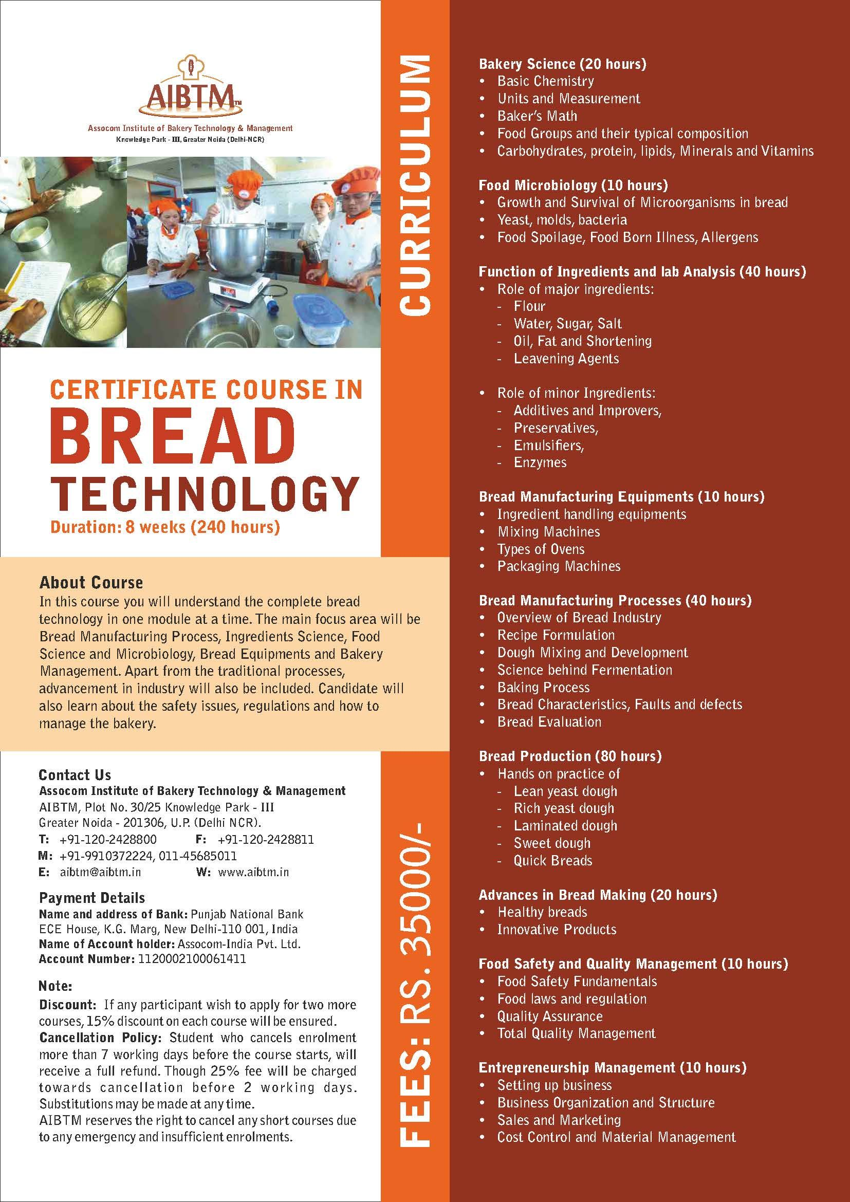 Certificate Course On Bread Technology Duration 8 Weeks 240 Hrs