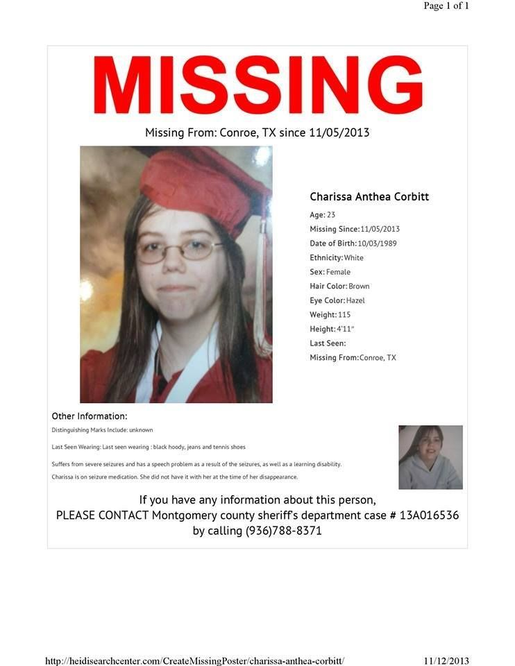 SPECIAL NEEDS! 11 5 2013 Charissa Corbitt, 23, is missing from - missing poster generator
