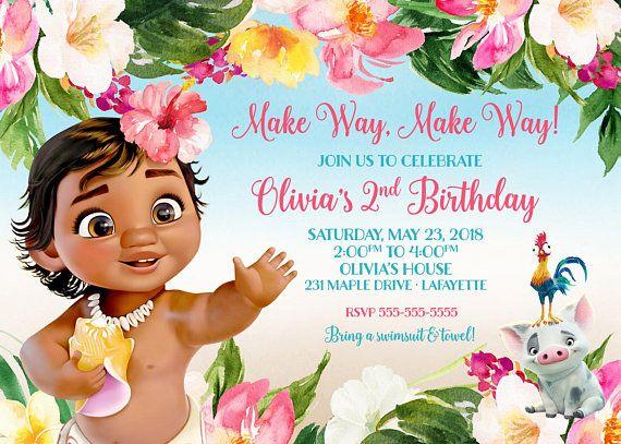 Baby Moana Invitation Birthday