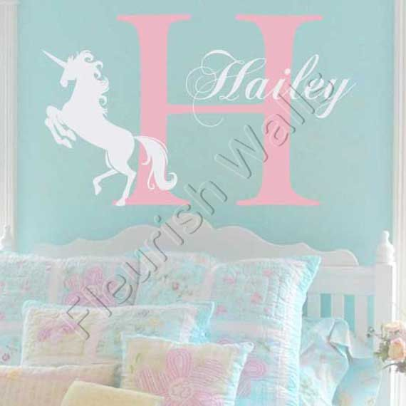 Unicorn Wall Decal Personalized With Initial And Name For