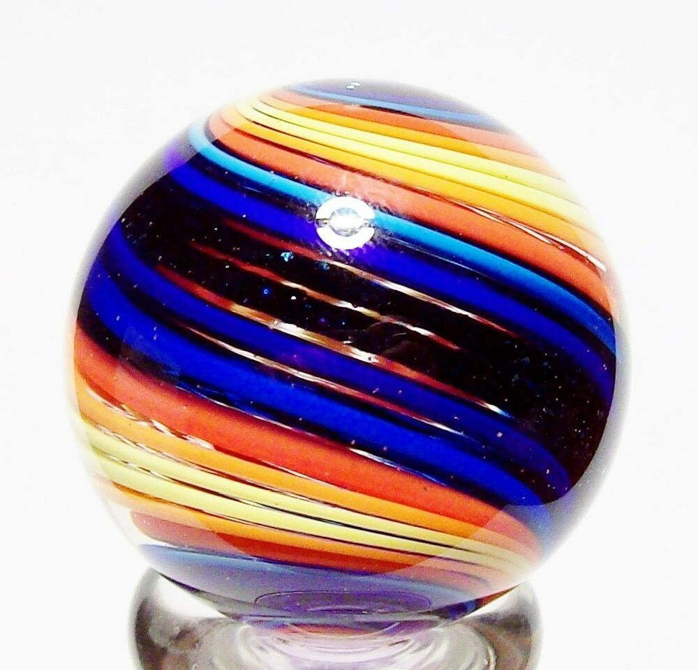 Eddie Seese Art Glass Marbles 1 3 8 Blue Adv Double Twist Marble Glass Marbles Glass Art Handmade Art Glass