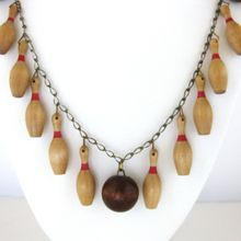 Vintage Wood Bowling Pin and Bowling Ball Chain Necklace
