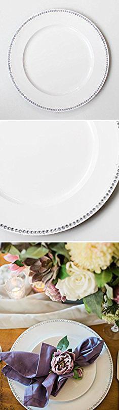 Rhinestone Charger Plates. Round White Plastic Charger Dinner Plate with Rhinestone Detail12.75\  & Rhinestone Charger Plates. Round White Plastic Charger Dinner ...