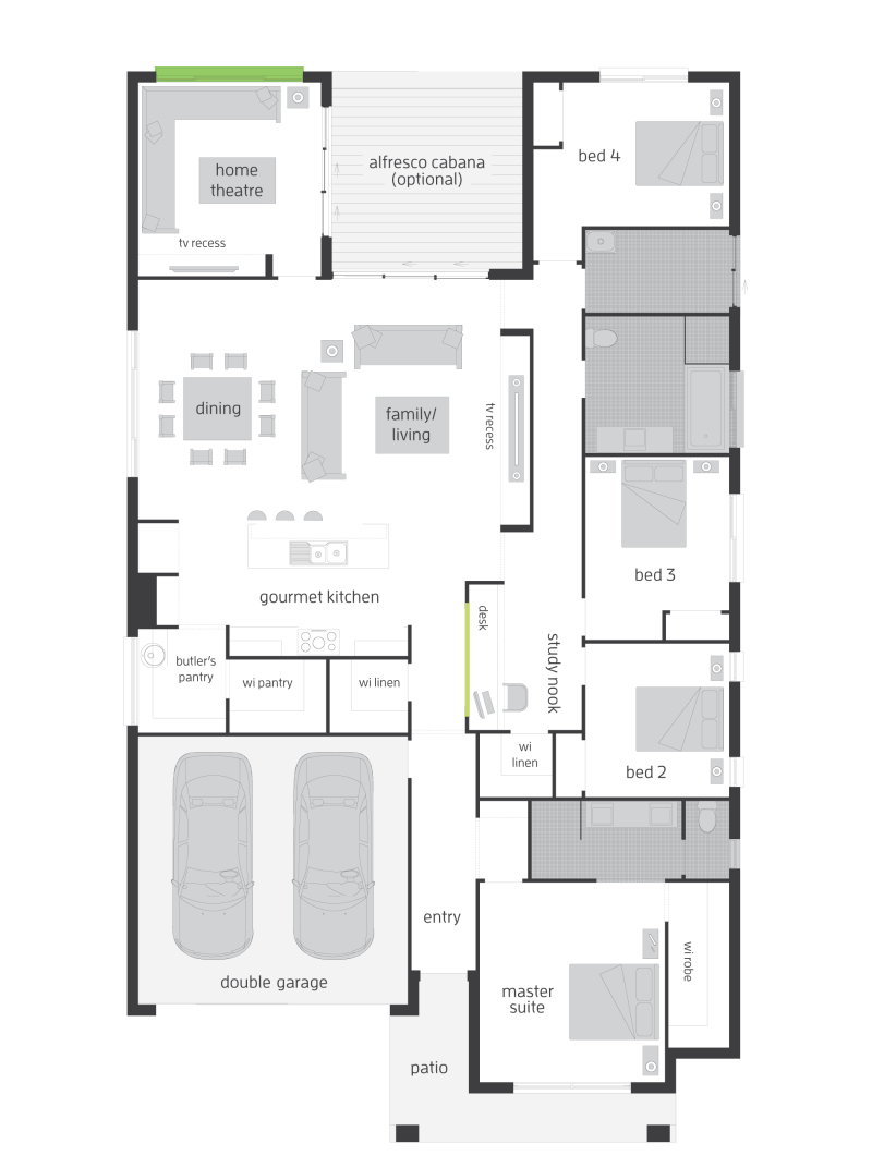 floor plan friday 4 bedroom with theatre study nook butler u0027s