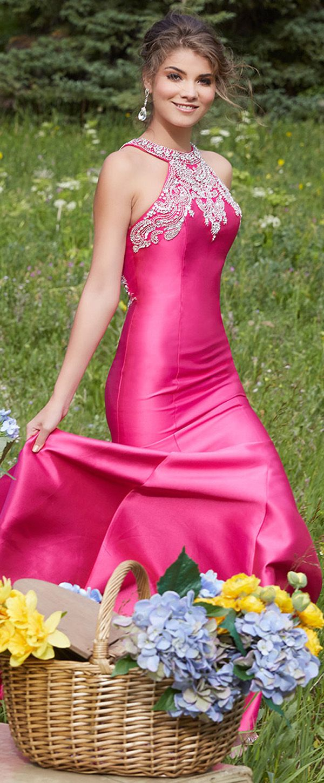 Delicate Satin Jewel Neckline Mermaid Prom Dresses With Beaded ...
