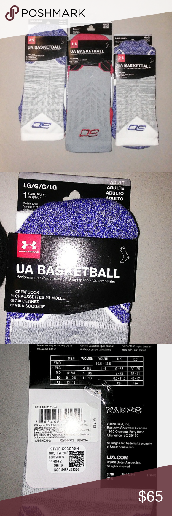 7049512bb2dd Men s UA B-ball SC  Crew Socks (Lot of 4)  Men s Under Armour Basketball  Socks Steph Curry Edition (Lot of 4) Type  Crew socks Size  Large Fit   9-12.5 men ...