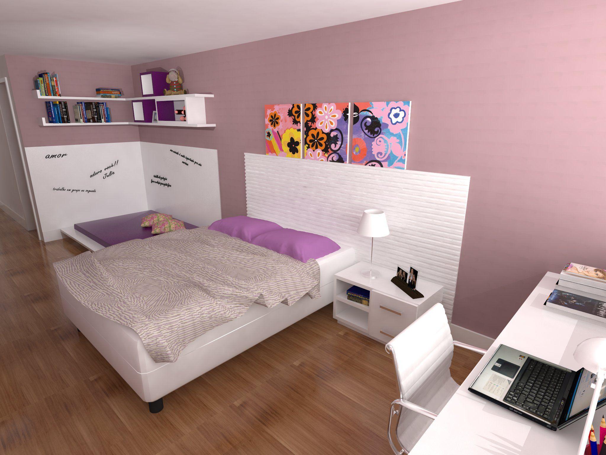 Quarto De Menina Adolescente Projeto Escrit Rio De Arquitetura  ~ Desenhos Para Quarto De Adolescente