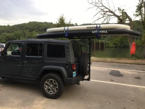 Jeep Rubicon And Hitchmount Rack With Two Sups Jeep Rubicon Jeep Jeep Accessories