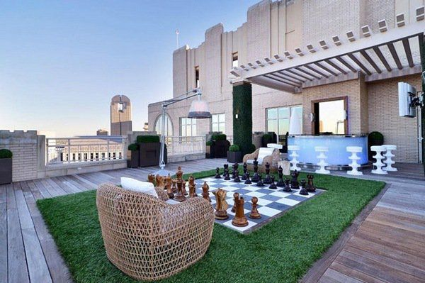 Unique Rooftop Deck Ideas Chess Field Pergola Roof Bar Wood Flooring