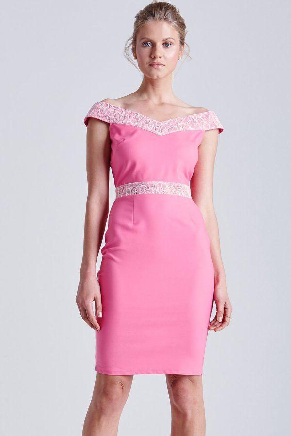 Pink and White Lace Bardot Dress | FashionToDieFor | Pinterest