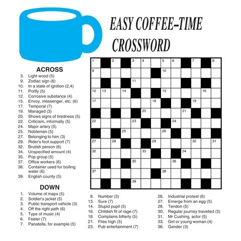 It's just a picture of Easy Printable Crossword Puzzles with tuesday printable