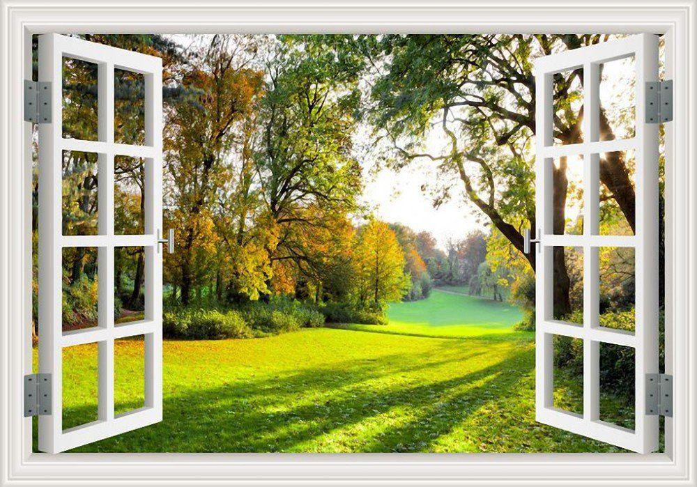 Greathomeart 3d Window View Wall Sticker Decal Sunny - Wall Window  Landscape Is Hd Wallpapers & Backgrounds For Des… | Landscape Walls, Window  View, Forest Wall Art