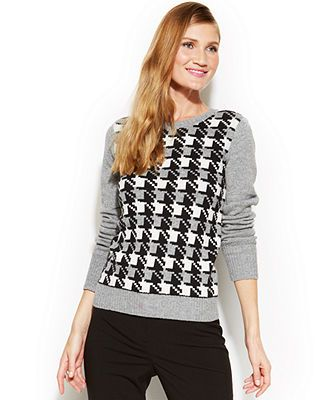 Anne Klein Houndstooth Button-Back Sweater