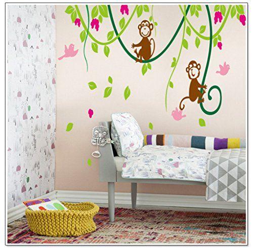Wandtattoo 2 Süße Affen und Vögel Trauben Pflanzen Wandsticker - amazon wandbilder wohnzimmer