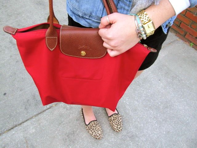 Longchamp Red Bag Leopard Slipper College Campus Tote Leather Fur University
