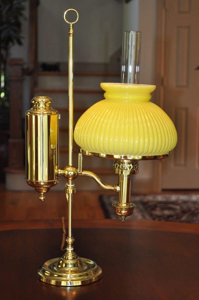 Victorian Brass C A Kleemann Student Lamp Yellow Shade