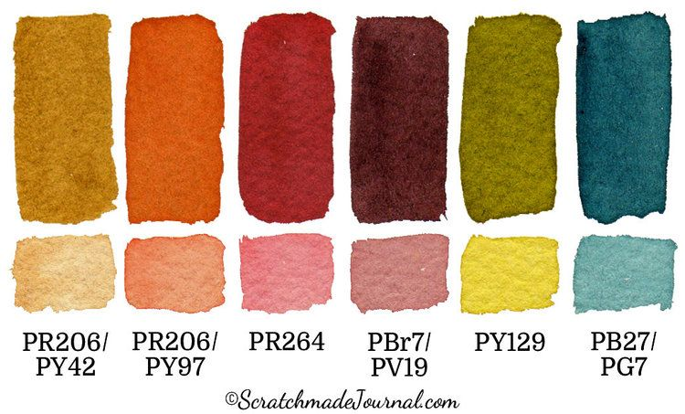 6 Color Autumn Palette For Watercolor Fall Color Palette