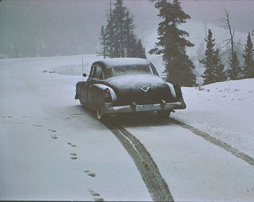 Remember when Dad put chains on the tires? They didn't have snow tires back in the day.