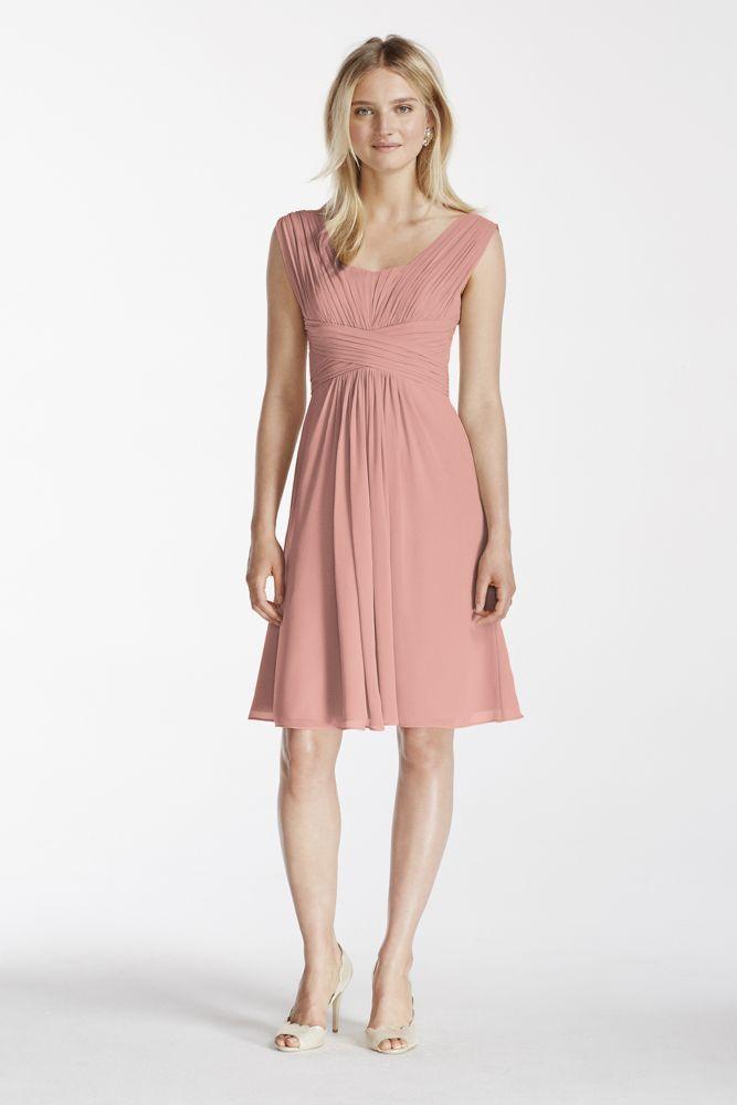 Extra Length Pleated Chiffon Short Tank Bridesmaid Dress | *Wedding ...