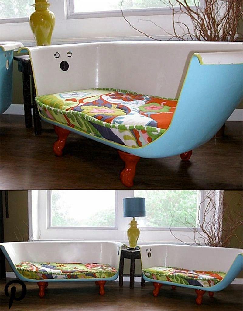 upcycling ideen badewanne halbieren sofa sitzpolster wohnzimmer