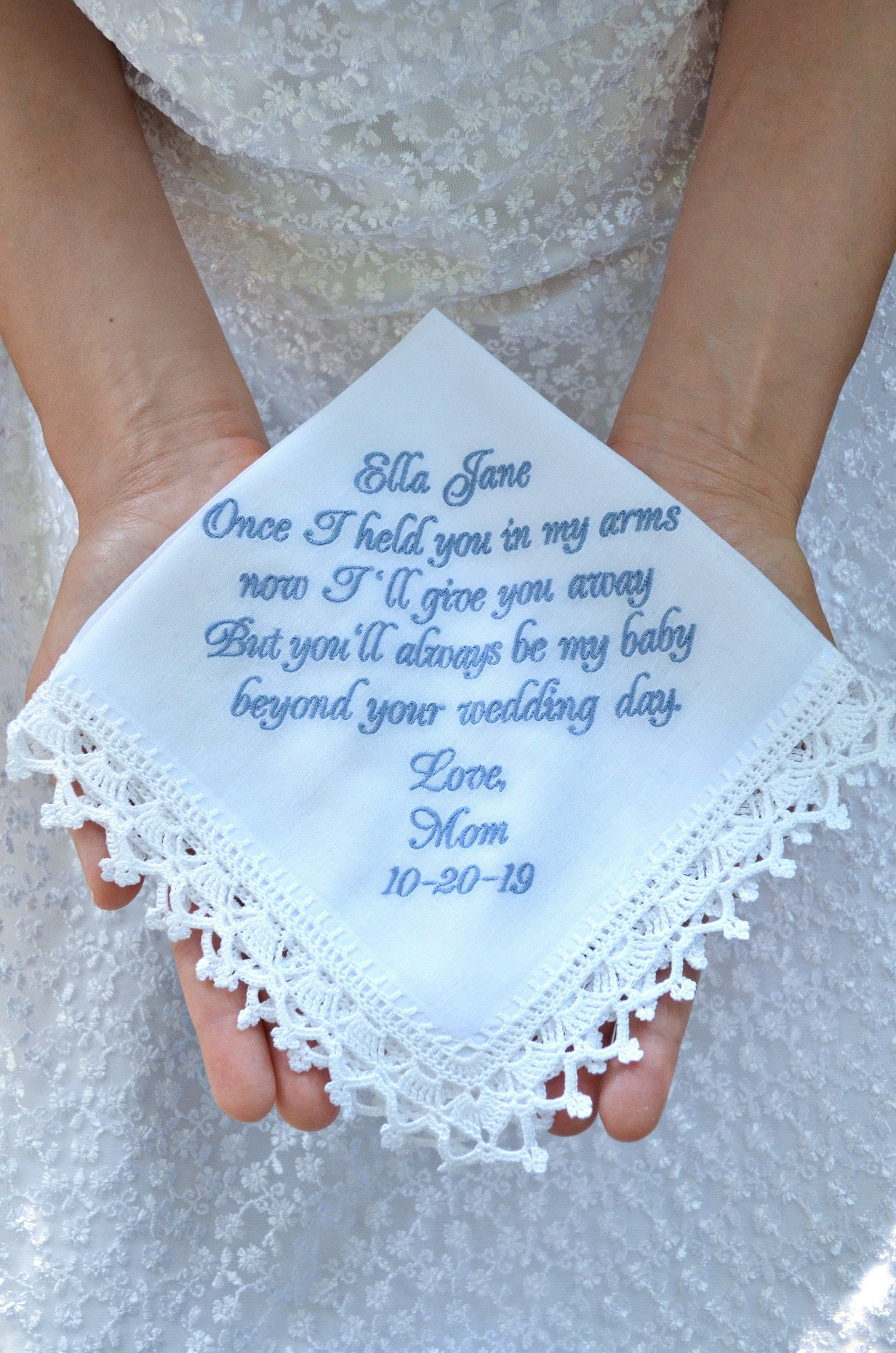 Something Blue handkerchief Wedding unique gift for Bride from Mom Sentimental rustic wedding heirloom for daughter from mother Personalized