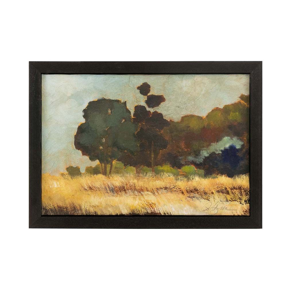 Original Oil On Canvas Of A Landscape Uses A Flattened Style To