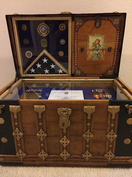Shellys Antique Trunk Used as Navy Retirement ShadowBox