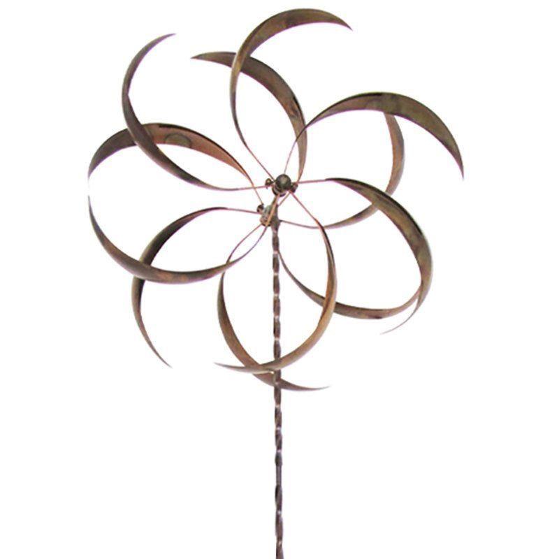 Metal curved leaf spinning outdoor garden wind spinner for Outdoor wind spinners