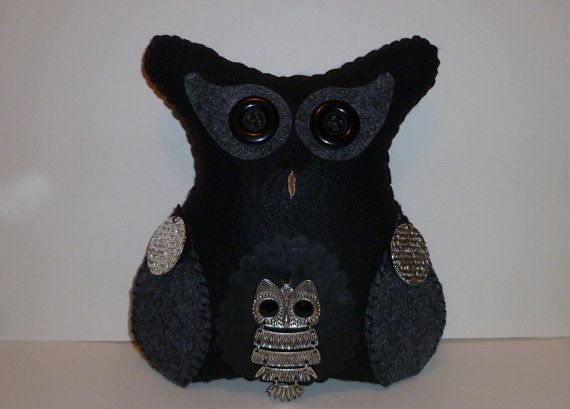 Black owl plush gift for an adult women home decor fiber art by DarkPicketFence on Etsy, $25.00 https://www.etsy.com/shop/DarkPicketFence