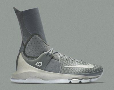 3741dd280c45 Nike KD 8 Elite Neutral Tumbled Grey Vivid Orange Lunar Grey 834185 ...